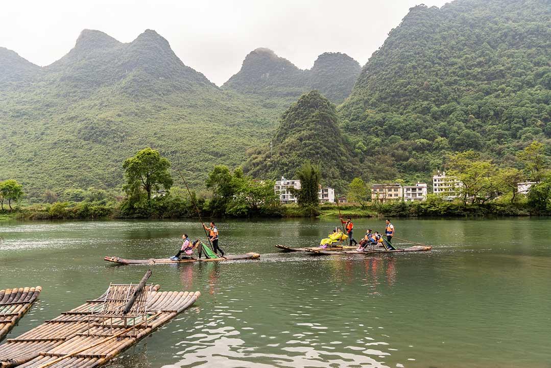 Raft Rides Down the Yulong River
