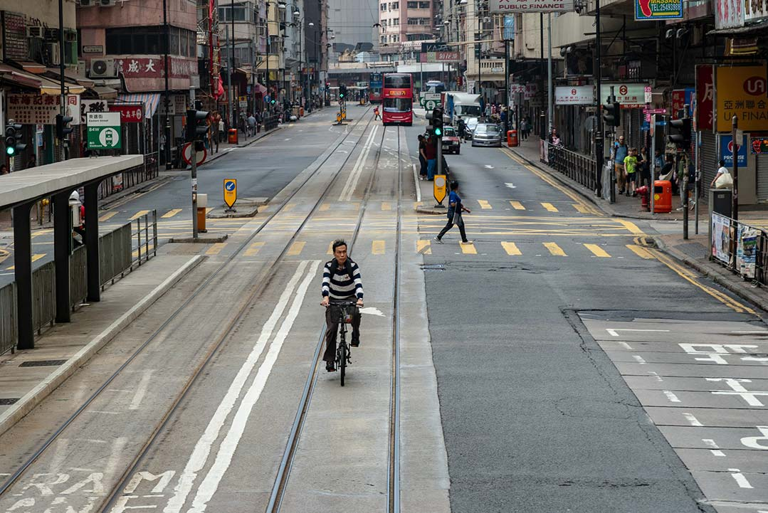 Riding the streets of Hong Kong in the tram lane