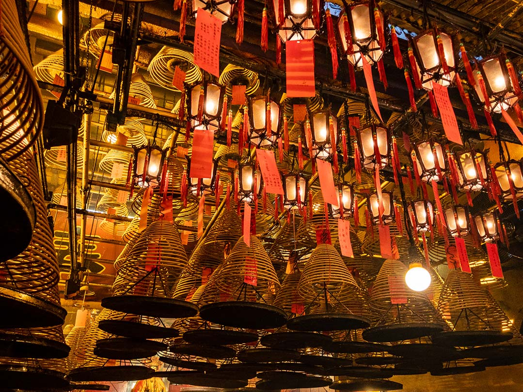 Hong Kong - Man Mo Temple, Hanging incense and lamps