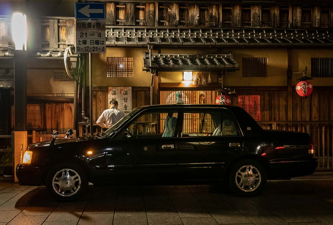 Cab waiting outside teahouse