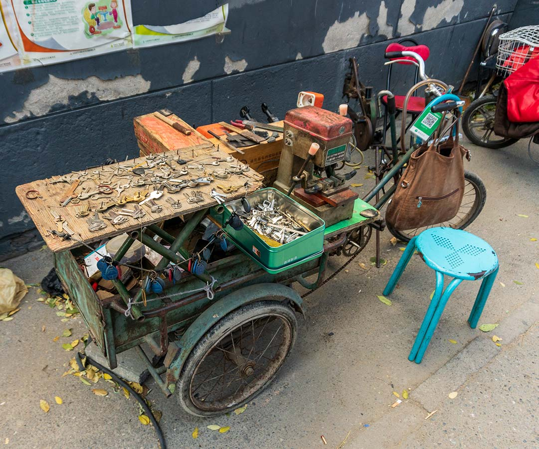 Keysmith Cart at front entrance of Hutong