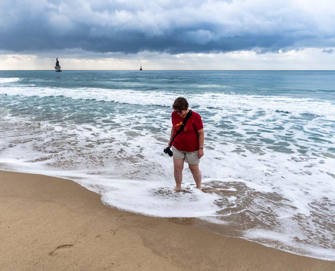 Busan - Walking in the surf at Haeundae Beach