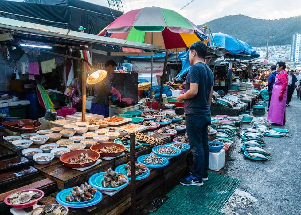 Busan - Jagalchi Seafood Market outside vendors