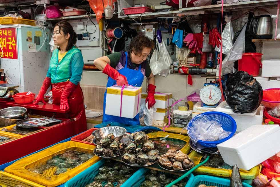 Busan - Jagalchi Seafood Market vendors