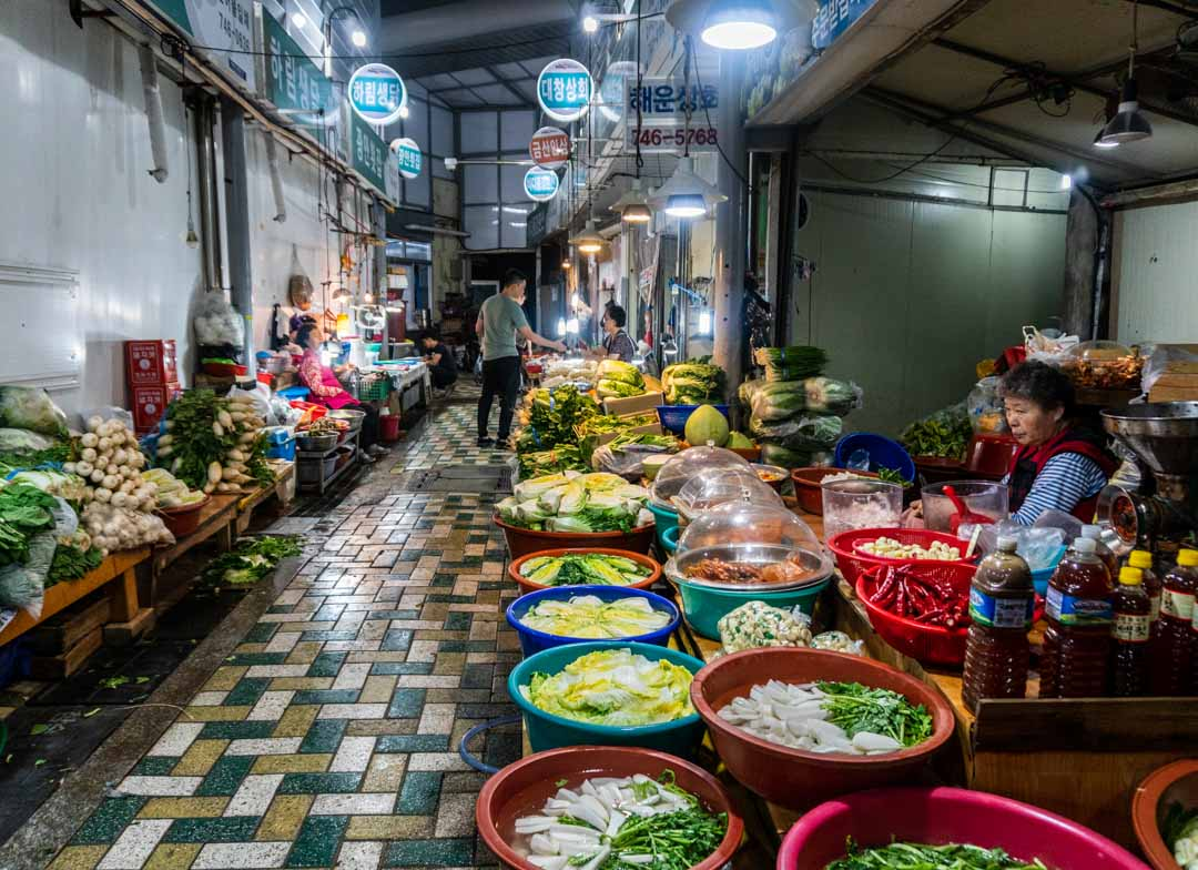 Busan - Haeundae Beach Night Market -Produce vendors